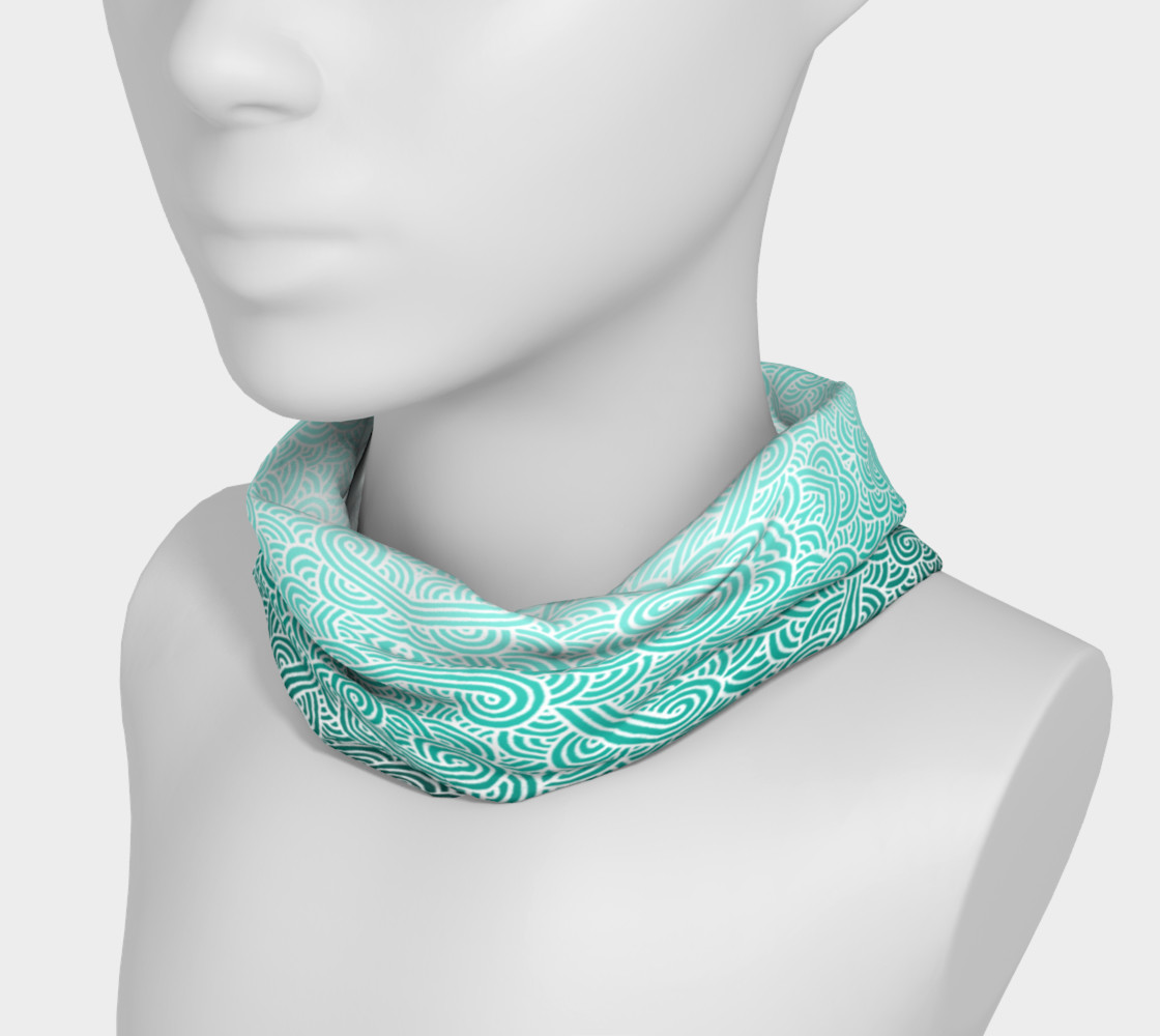 Ombre turquoise blue and white swirls doodles Headband preview #3
