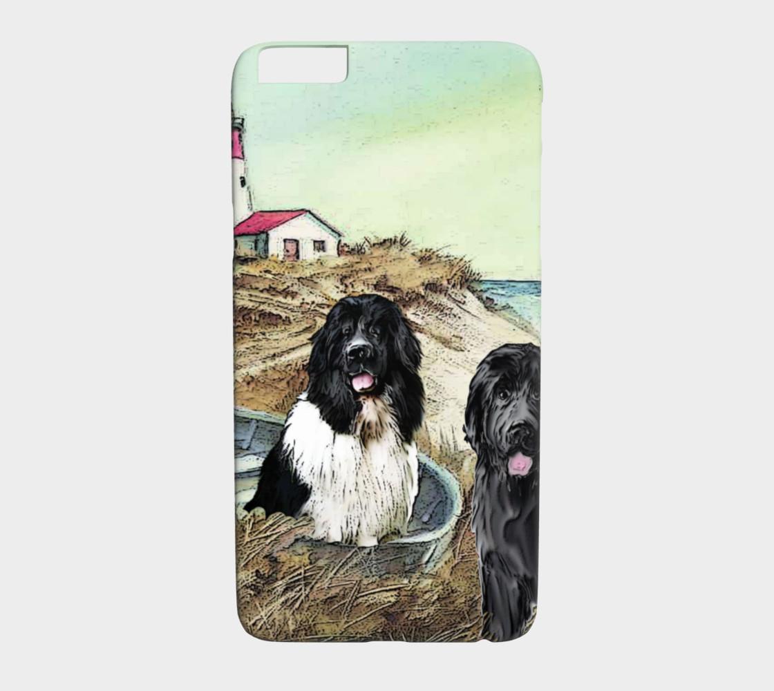 Aperçu de two newfs and lighthouse phone case #1