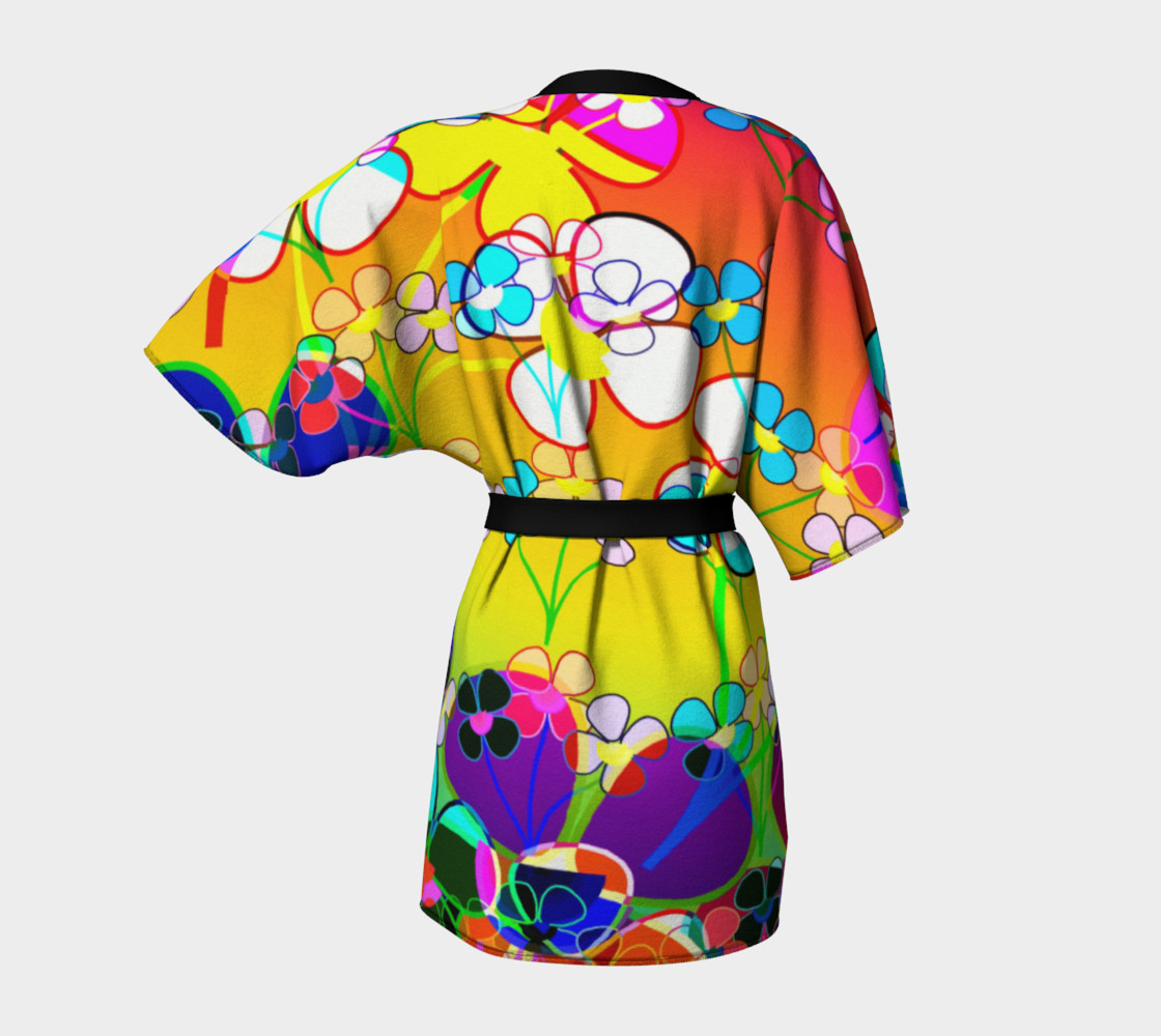 Abstract Colorful Flower Art Yellow Background Kimono Robe preview #4