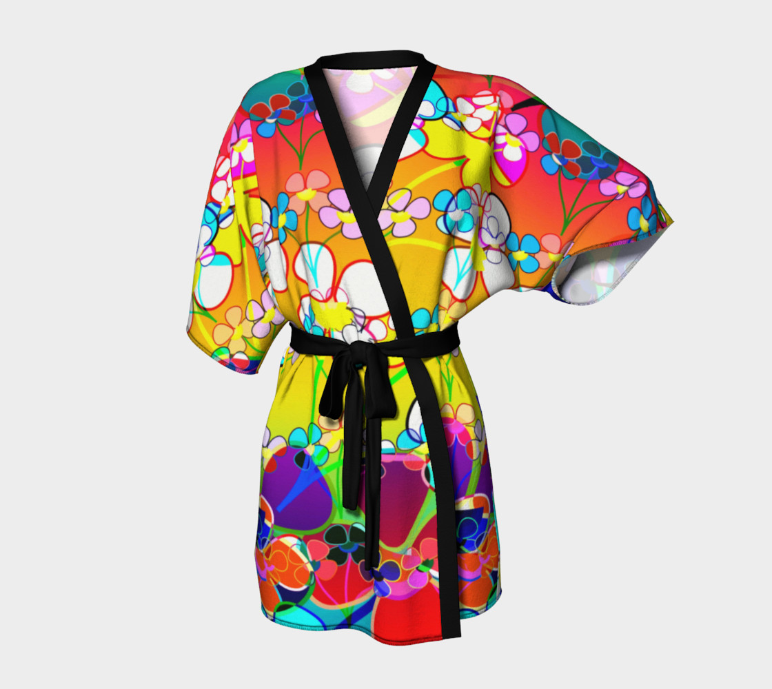 Abstract Colorful Flower Art Yellow Background Kimono Robe preview #1
