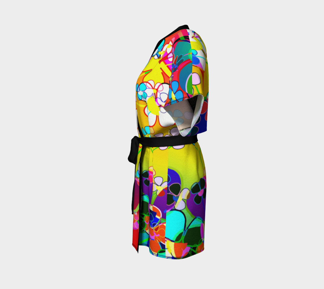 Abstract Colorful Flower Art Yellow Background Kimono Robe preview #2