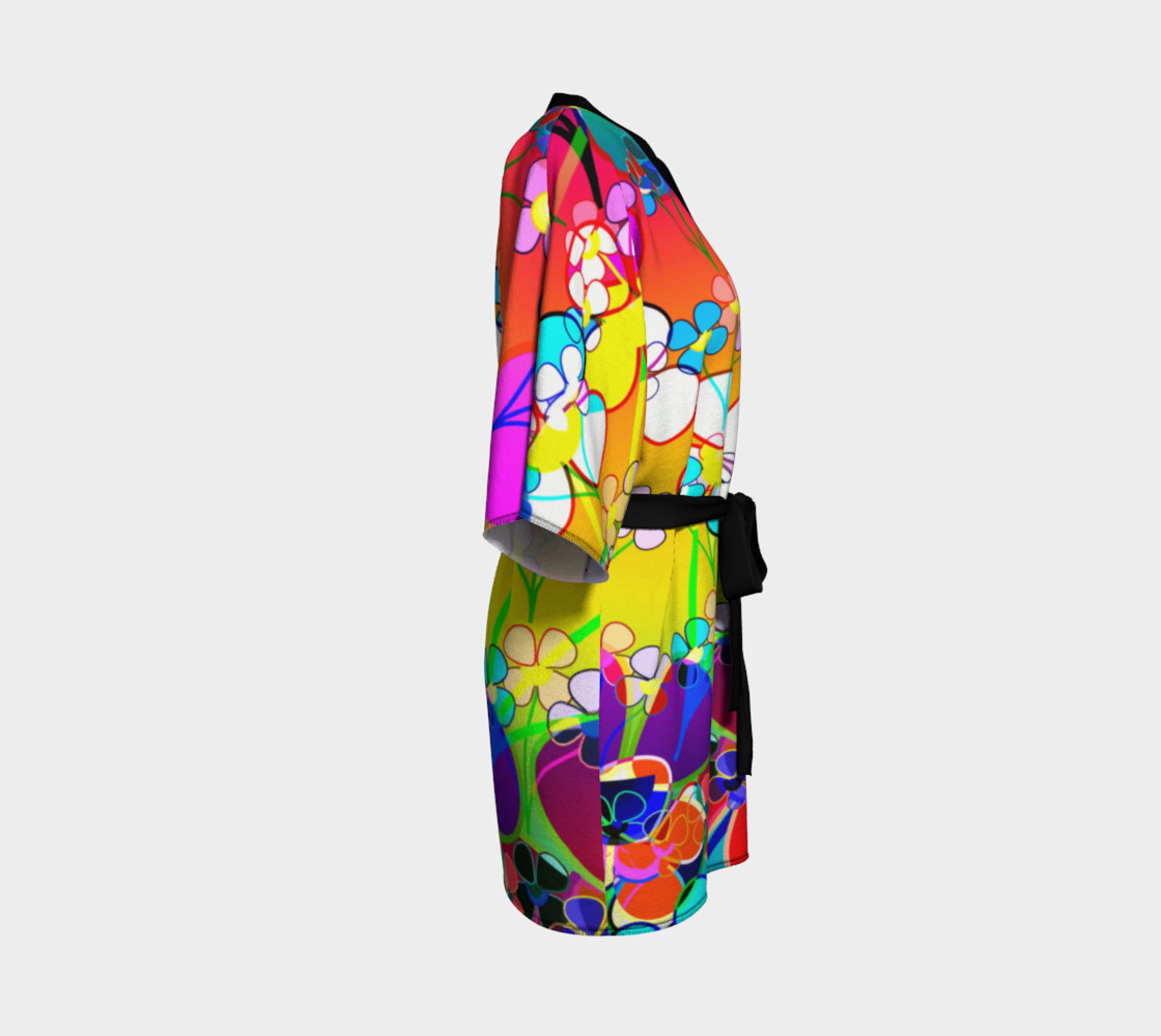 Abstract Colorful Flower Art Yellow Background Kimono Robe preview #3