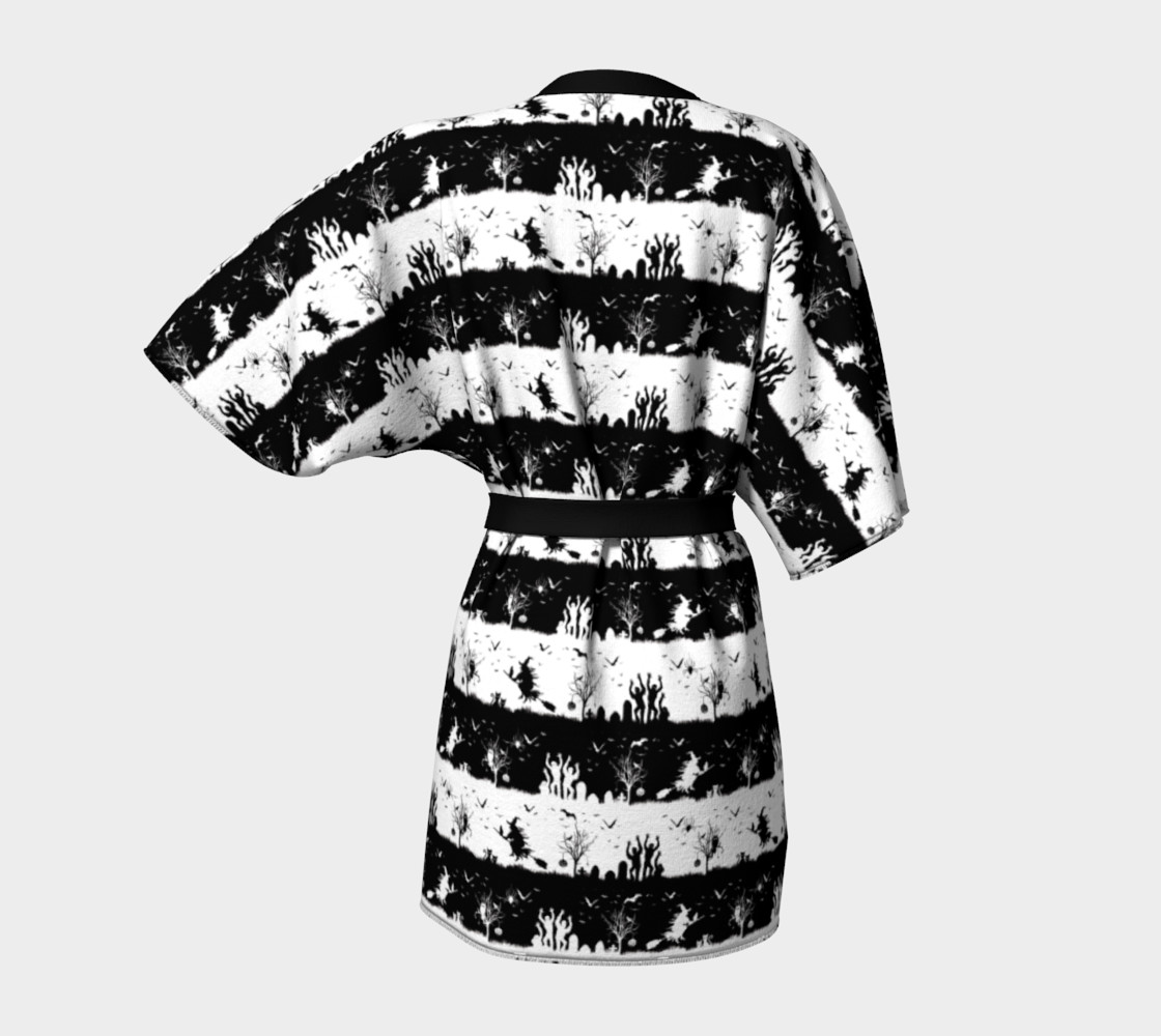 Black and White Halloween Nightmare Stripes Miniature #5