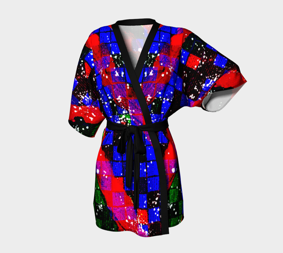 Fiery Colorful Grunge Squares and Stripes Kimono Robe preview #1