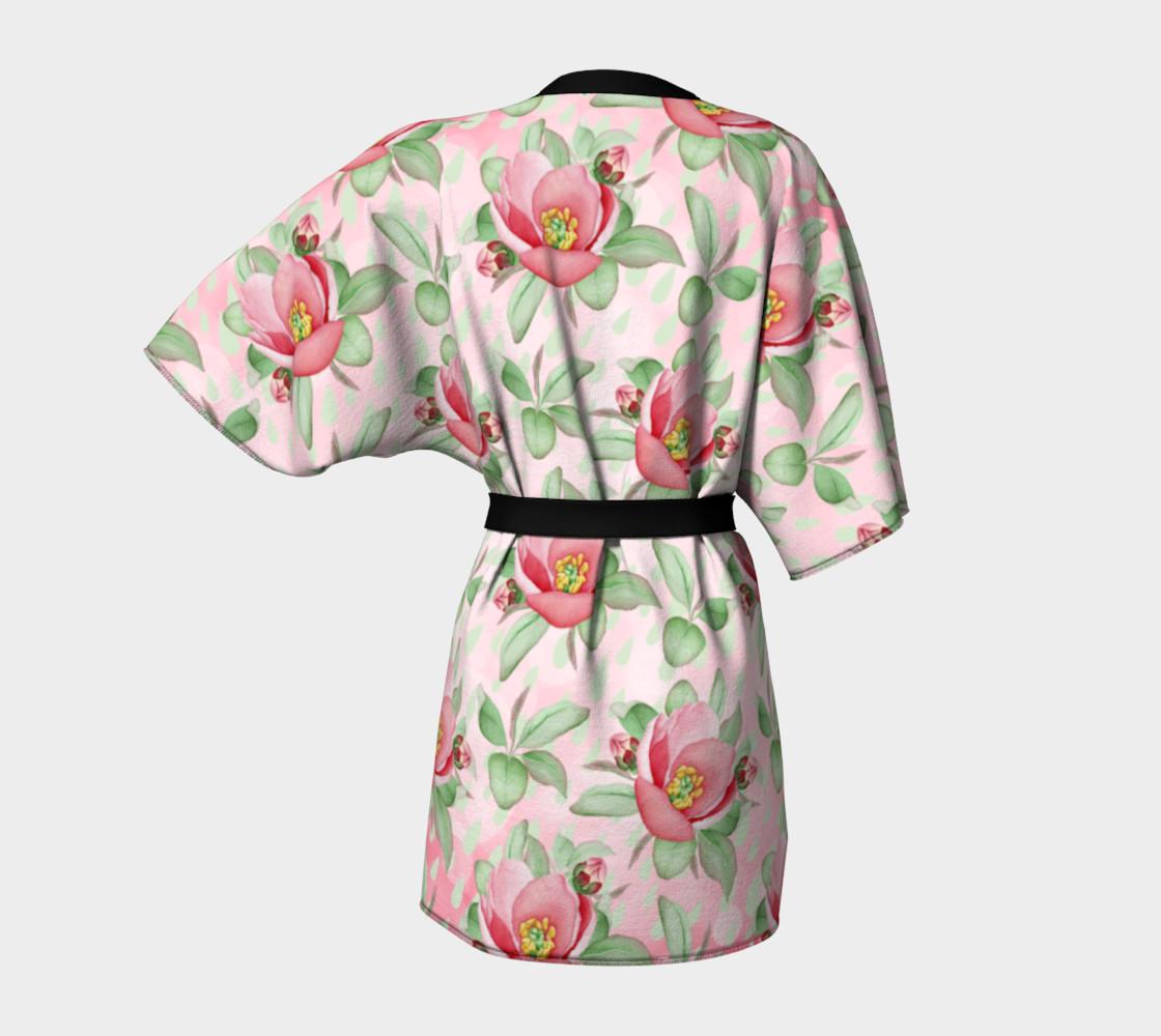 Aperçu de Bold Red Green Wild Rose Floral Kimono Robe #4
