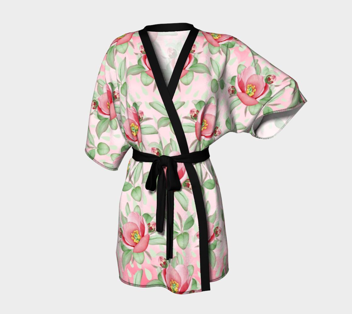Aperçu de Bold Red Green Wild Rose Floral Kimono Robe #1