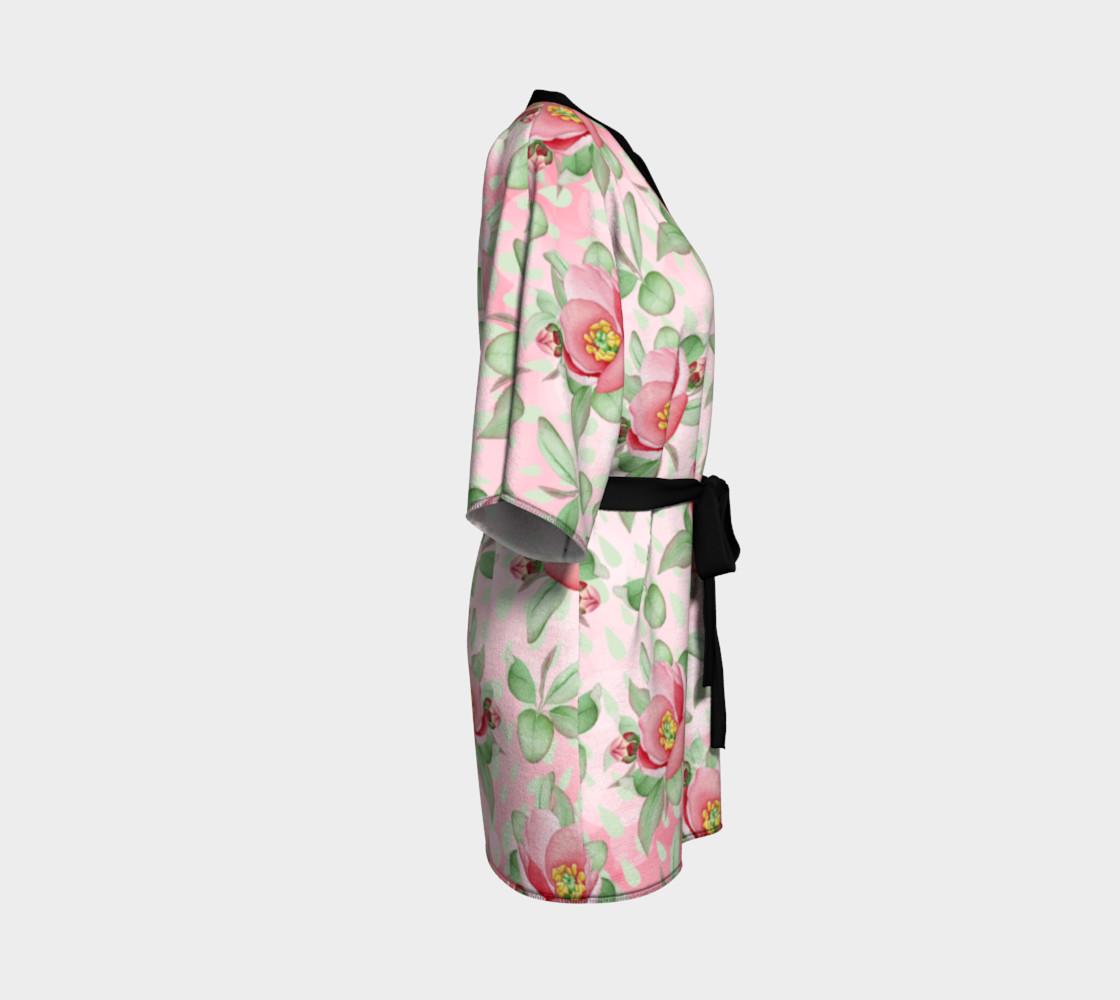 Aperçu de Bold Red Green Wild Rose Floral Kimono Robe #3