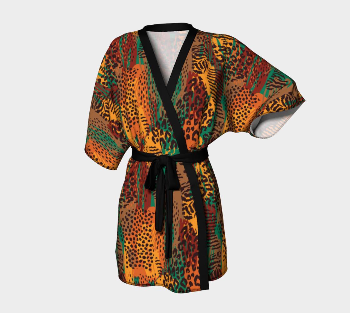 Safari Animal Print Mashup Kimono Robe preview #1