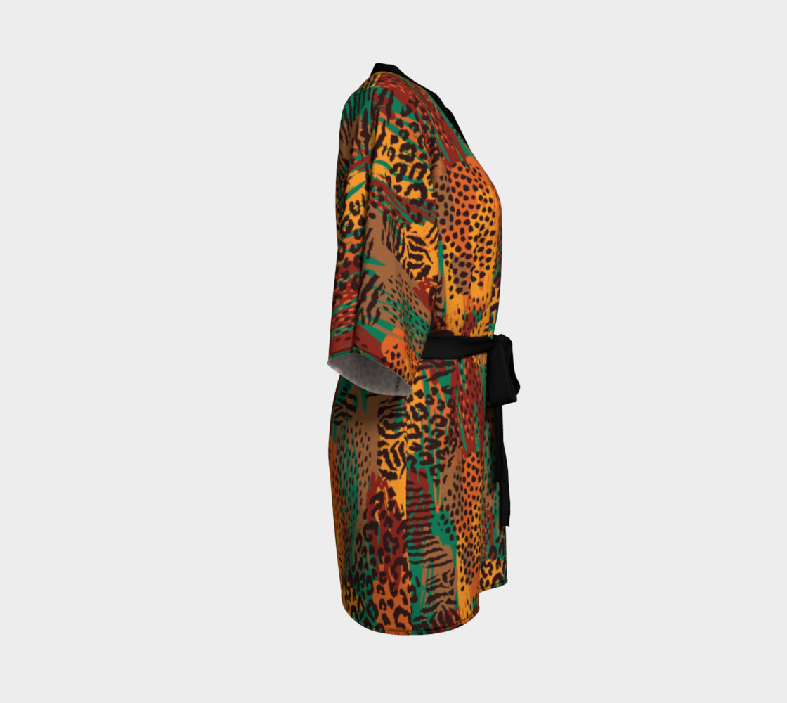 Safari Animal Print Mashup Kimono Robe preview #3