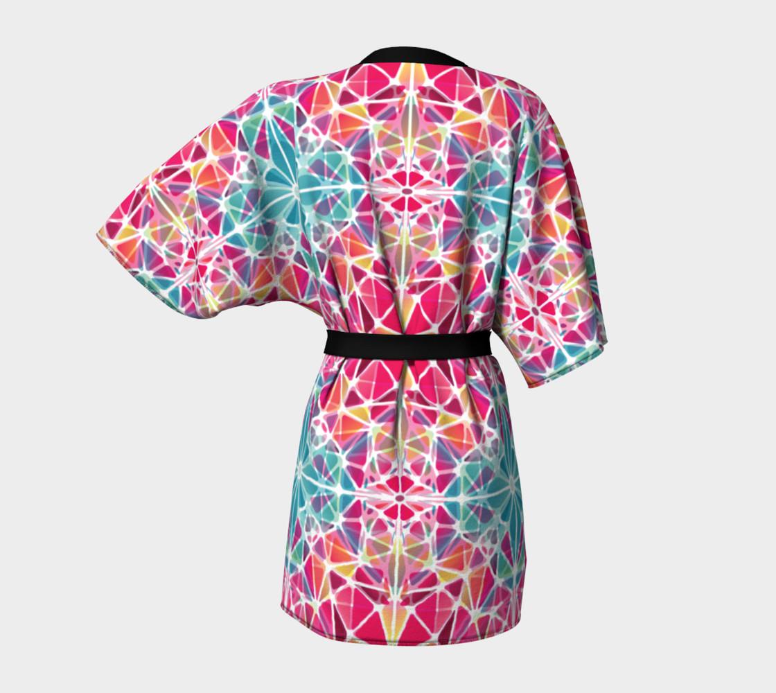 Pink and Blue Kaleidoscope Kimono Robe preview #4