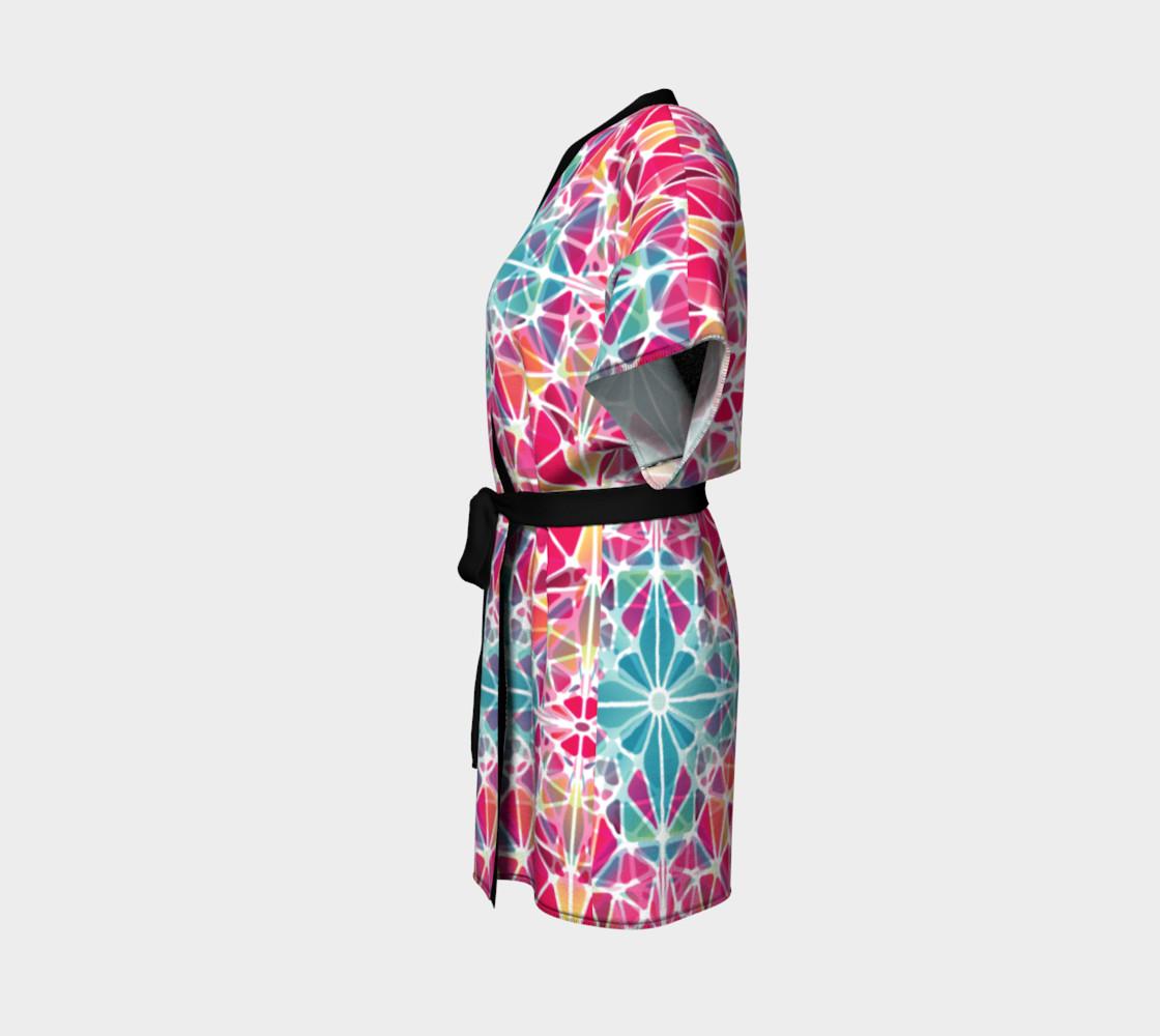 Pink and Blue Kaleidoscope Kimono Robe preview #2