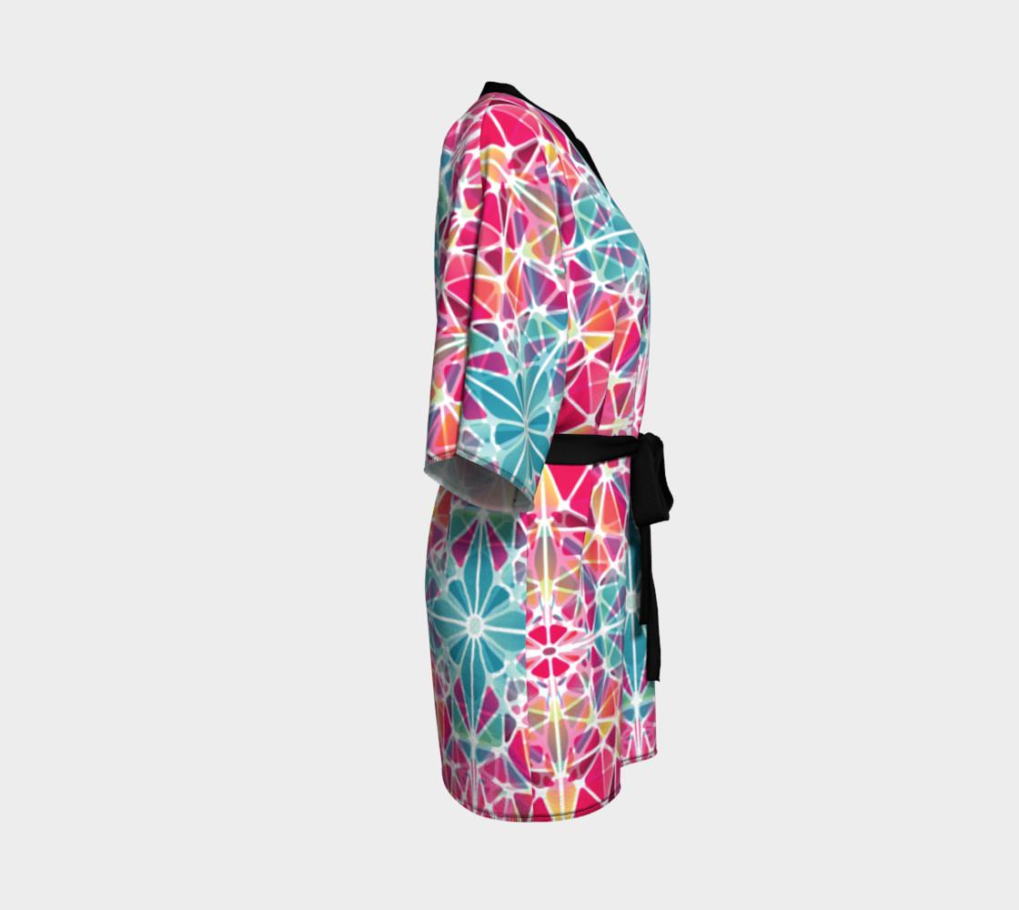 Pink and Blue Kaleidoscope Kimono Robe preview #3