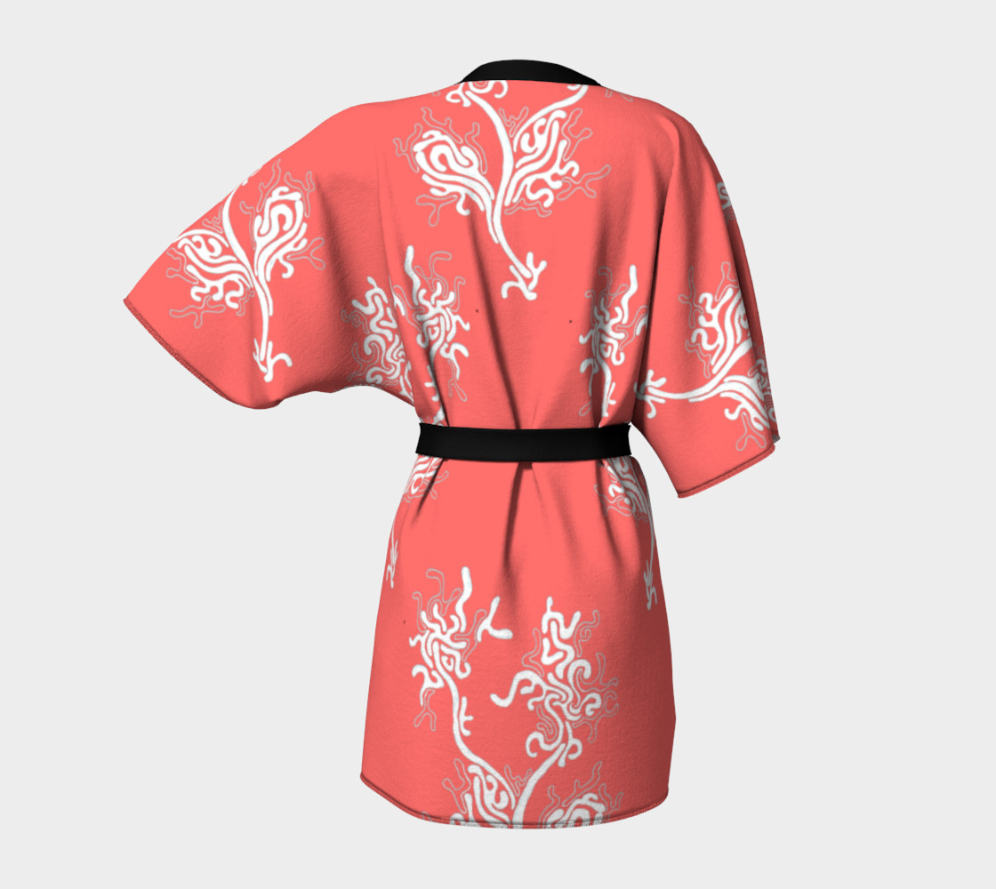 Life Aquatic Living Coral Kimono Robe preview #4