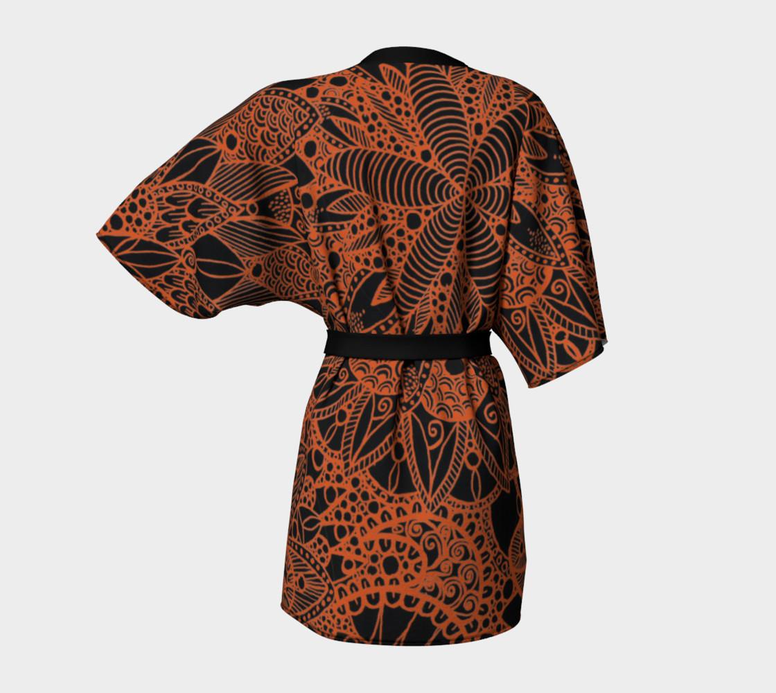 Orange Mandala Pattern Kimono Robe preview #4