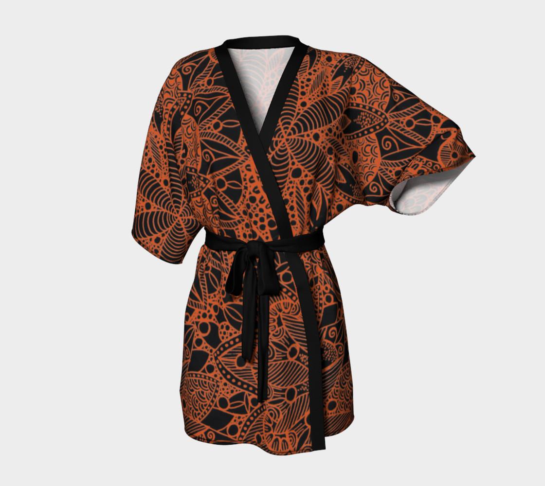 Orange Mandala Pattern Kimono Robe preview #1