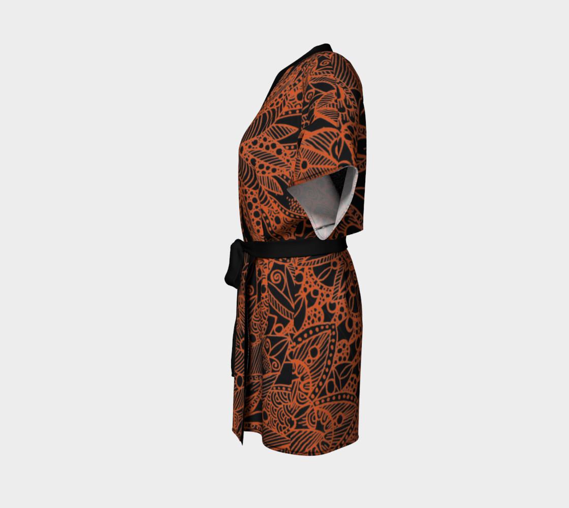 Orange Mandala Pattern Kimono Robe preview #2