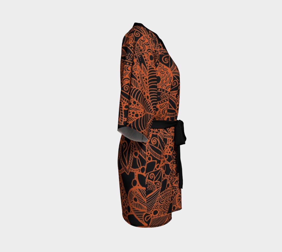 Orange Mandala Pattern Kimono Robe preview #3
