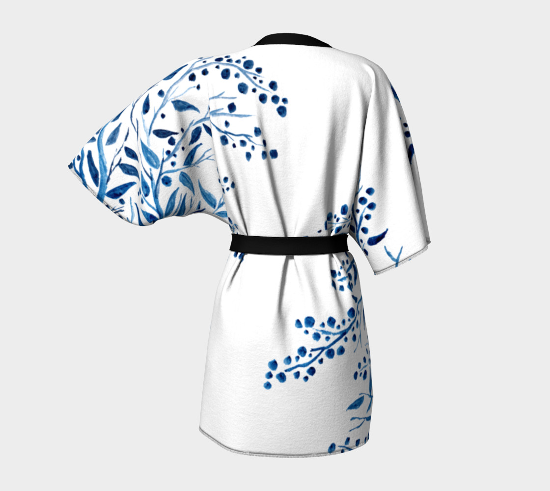 Blue Watercolor Leaves Kimono Robe preview #4