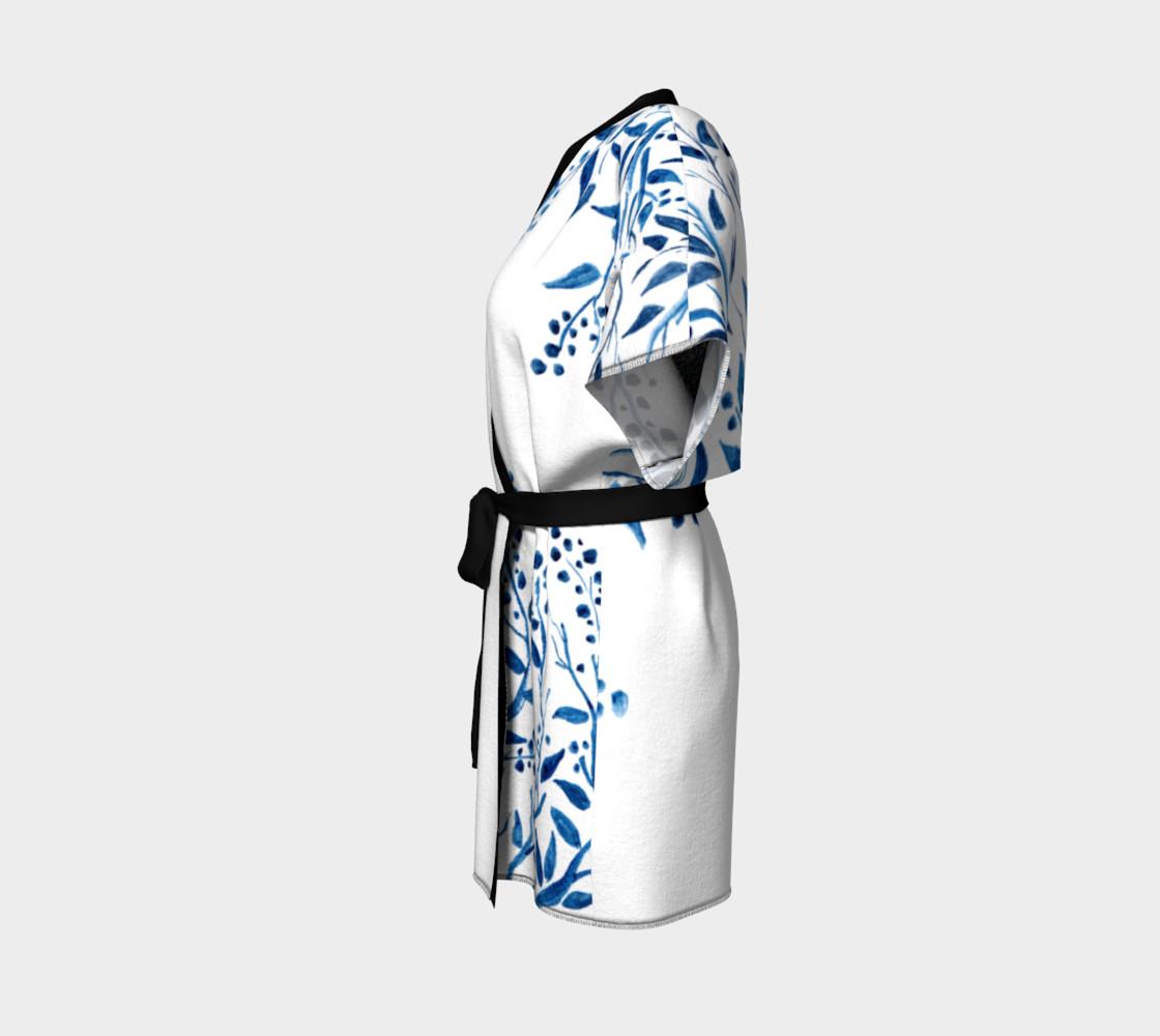 Blue Watercolor Leaves Kimono Robe preview #2