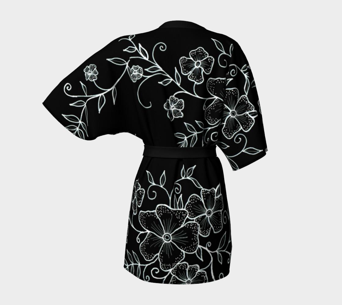 Black and White Floral Ornaments Kimono Robe preview #4