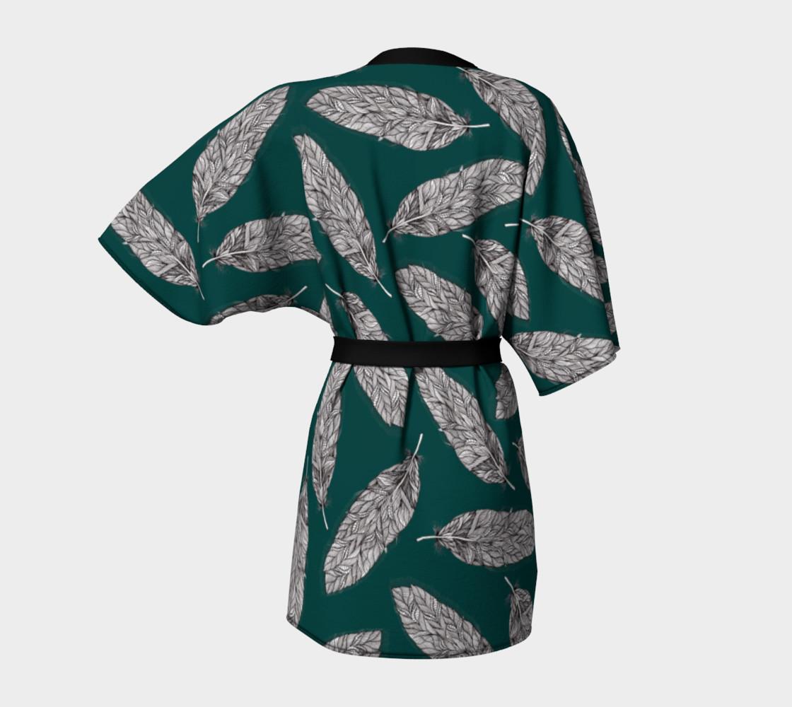 Petrol Feathers Pattern Kimono Robe preview #4