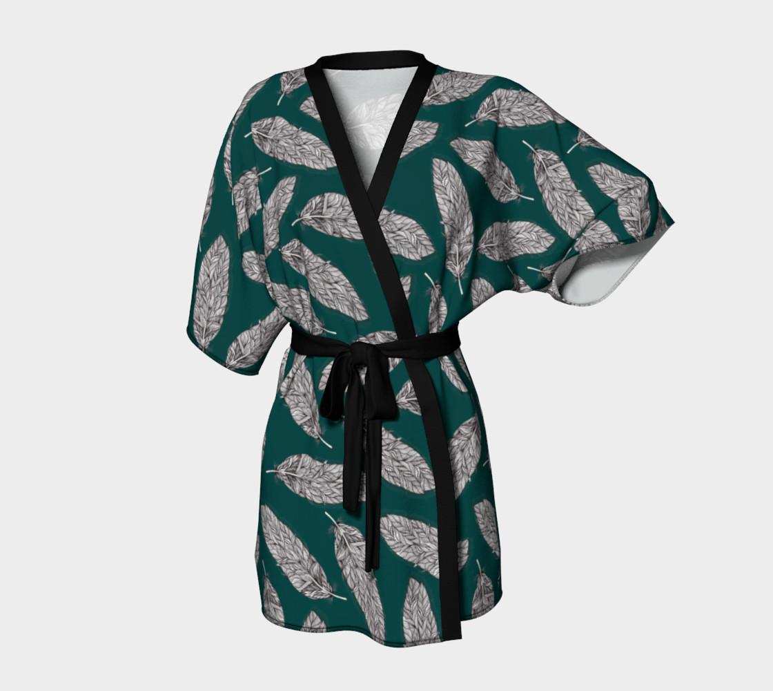 Petrol Feathers Pattern Kimono Robe preview #1