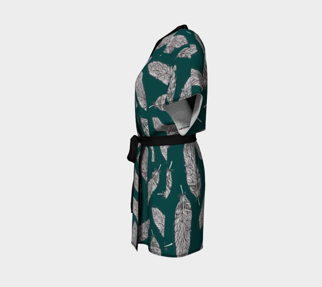 Petrol Feathers Pattern Kimono Robe preview #2
