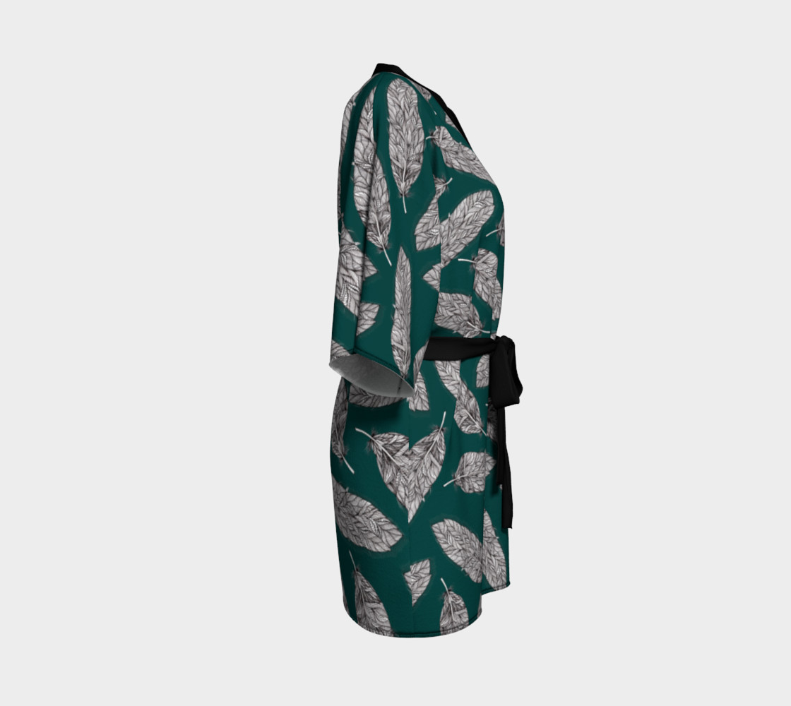 Petrol Feathers Pattern Kimono Robe preview #3