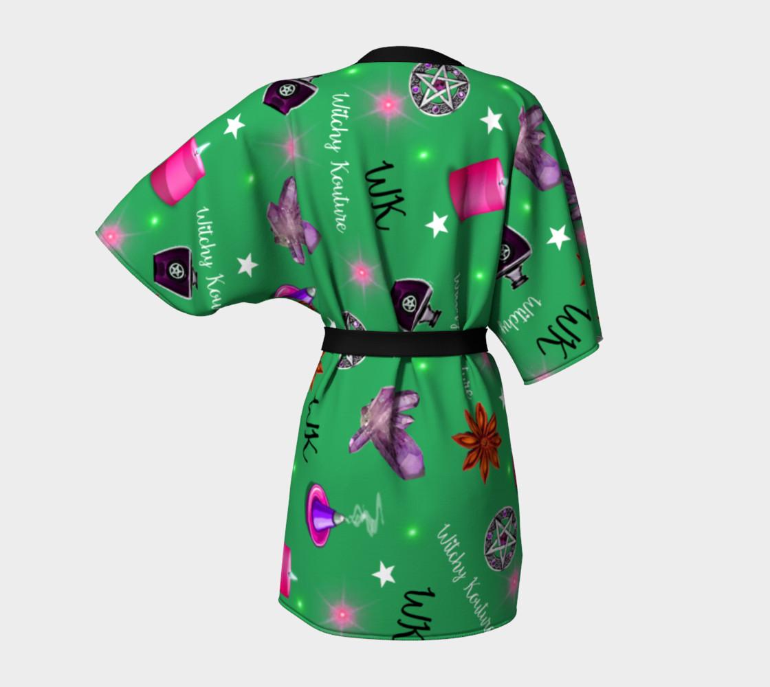WK #ModernWitchLife Green Print Kimono Robe preview #4
