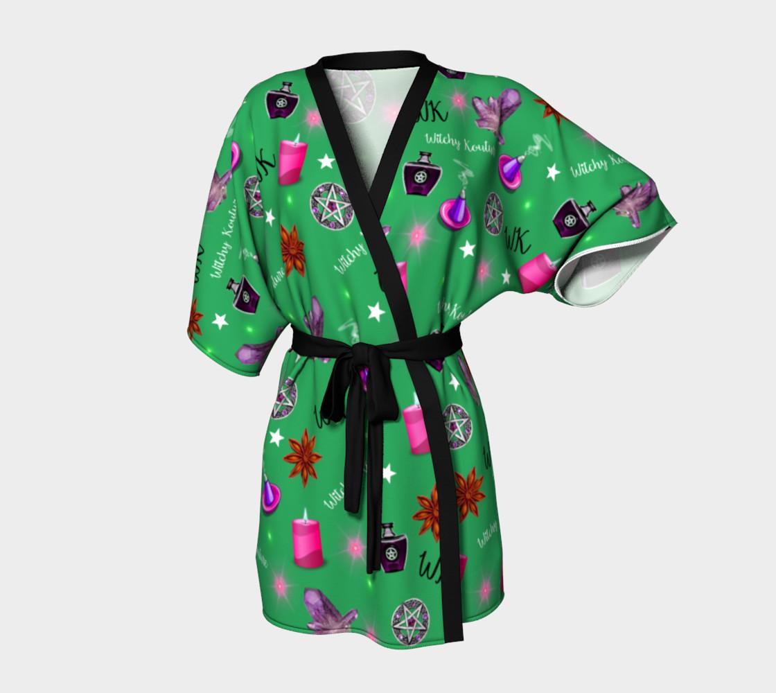 WK #ModernWitchLife Green Print Kimono Robe preview #1