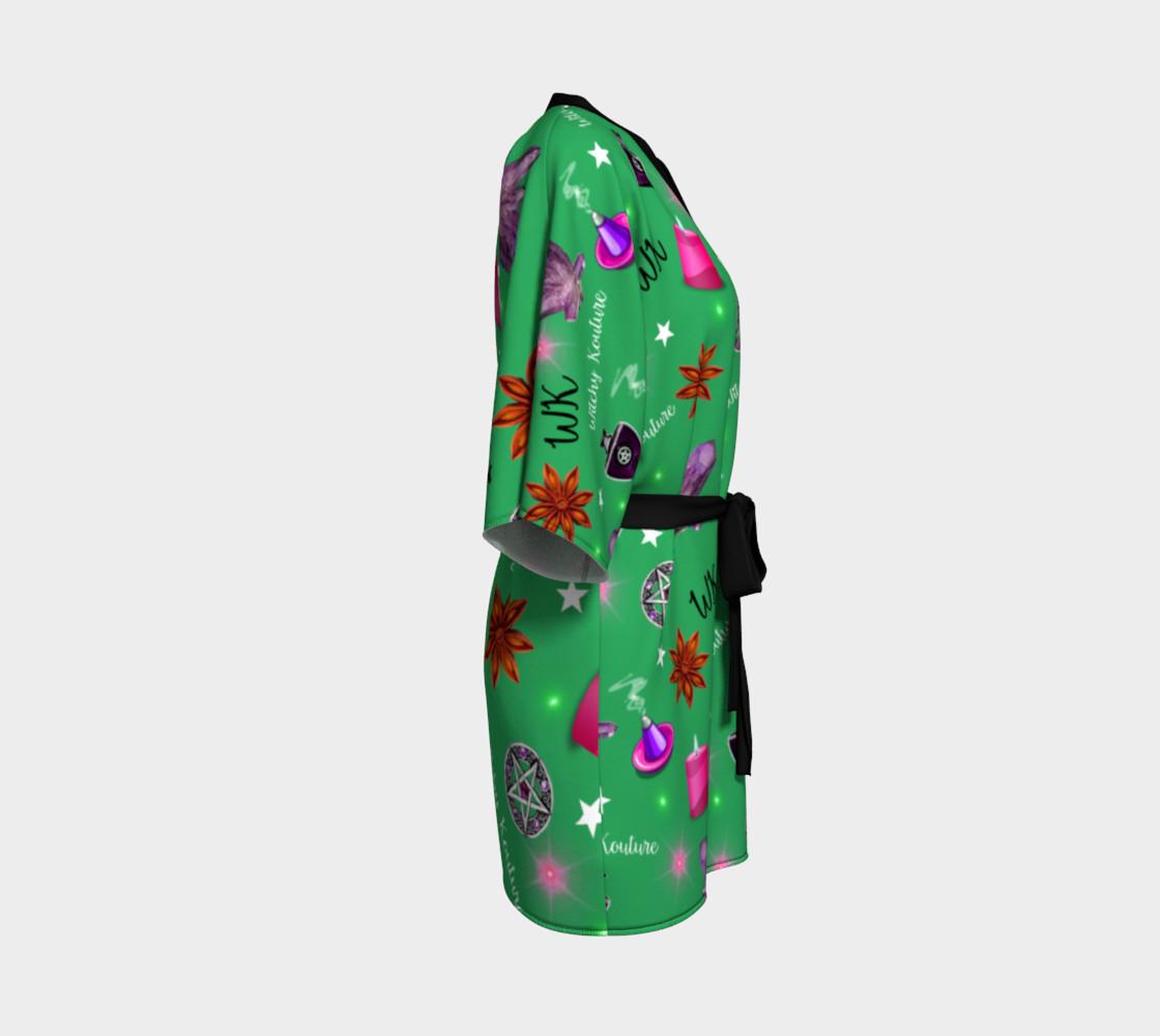 WK #ModernWitchLife Green Print Kimono Robe preview #3