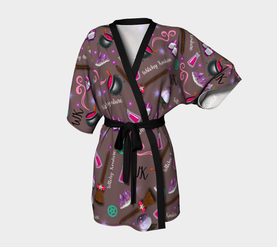 WK #ModernWitchLife Taupe Print Kimono Robe preview #1