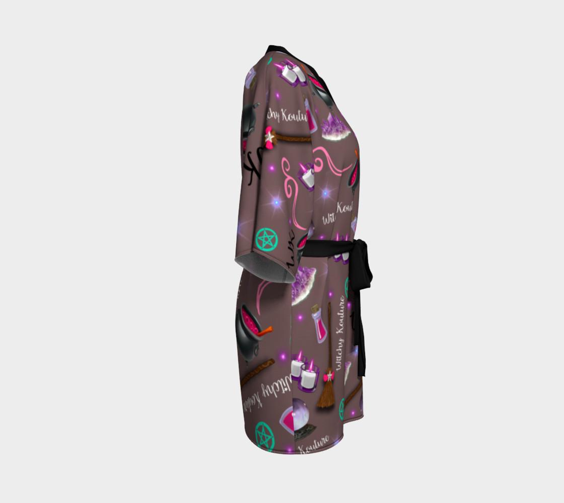 WK #ModernWitchLife Taupe Print Kimono Robe preview #3