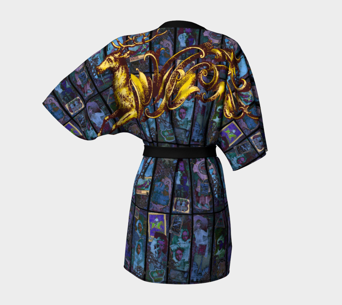Adopted Ancestors: Blue & Gold - Kimono Robe preview #4