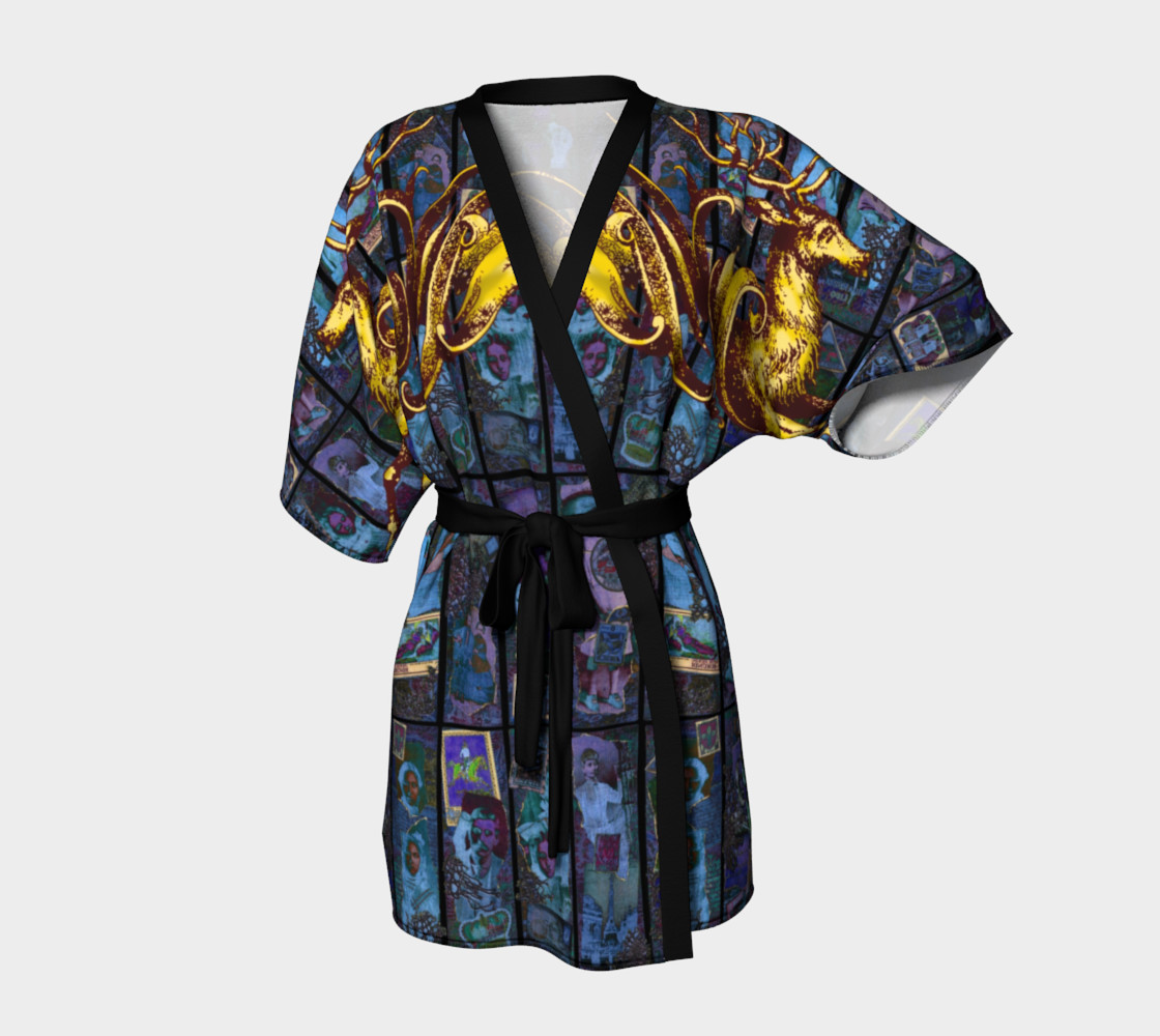 Adopted Ancestors: Blue & Gold - Kimono Robe preview #1