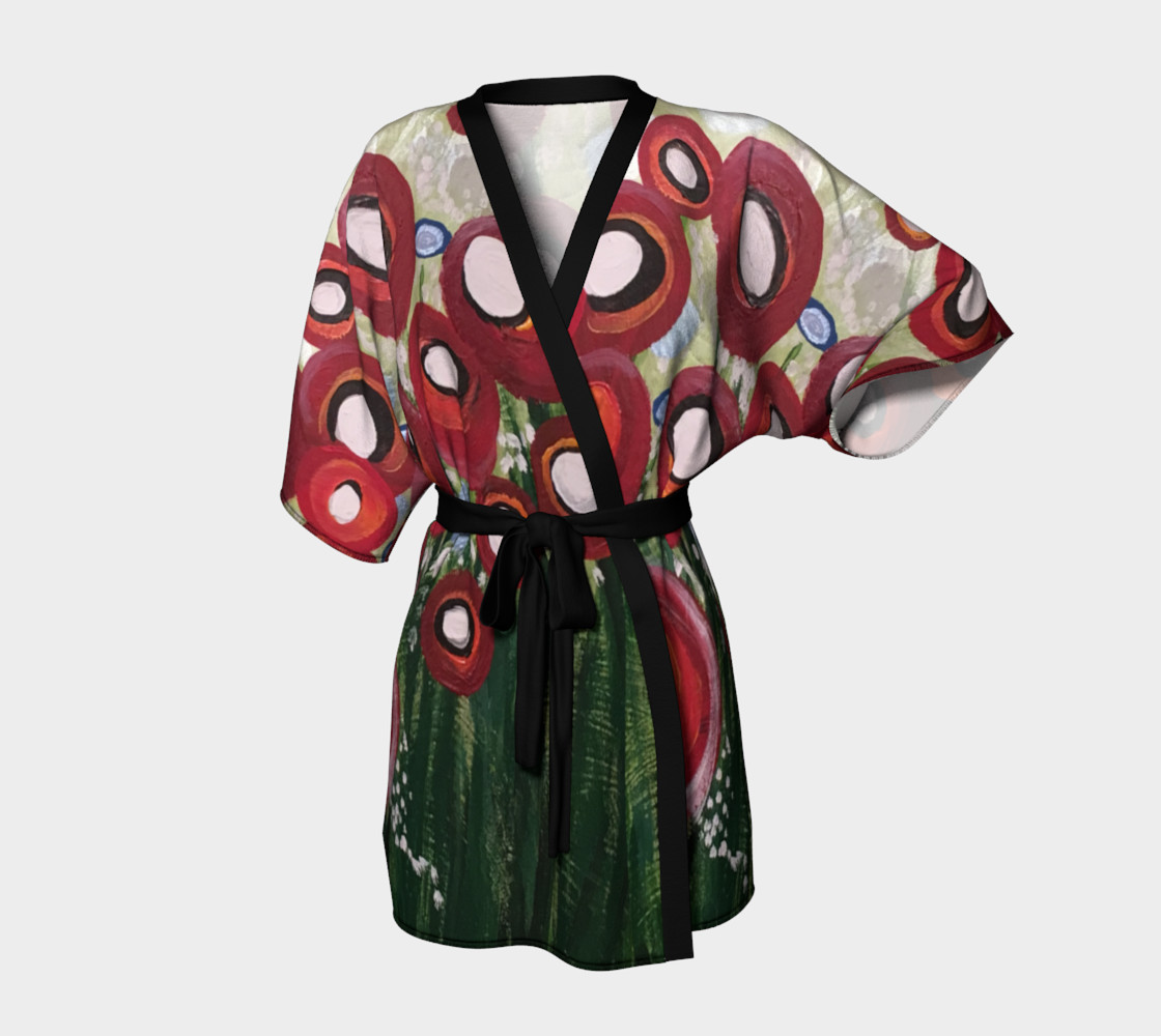 Whimsical Poppy Kimono Robe preview #1
