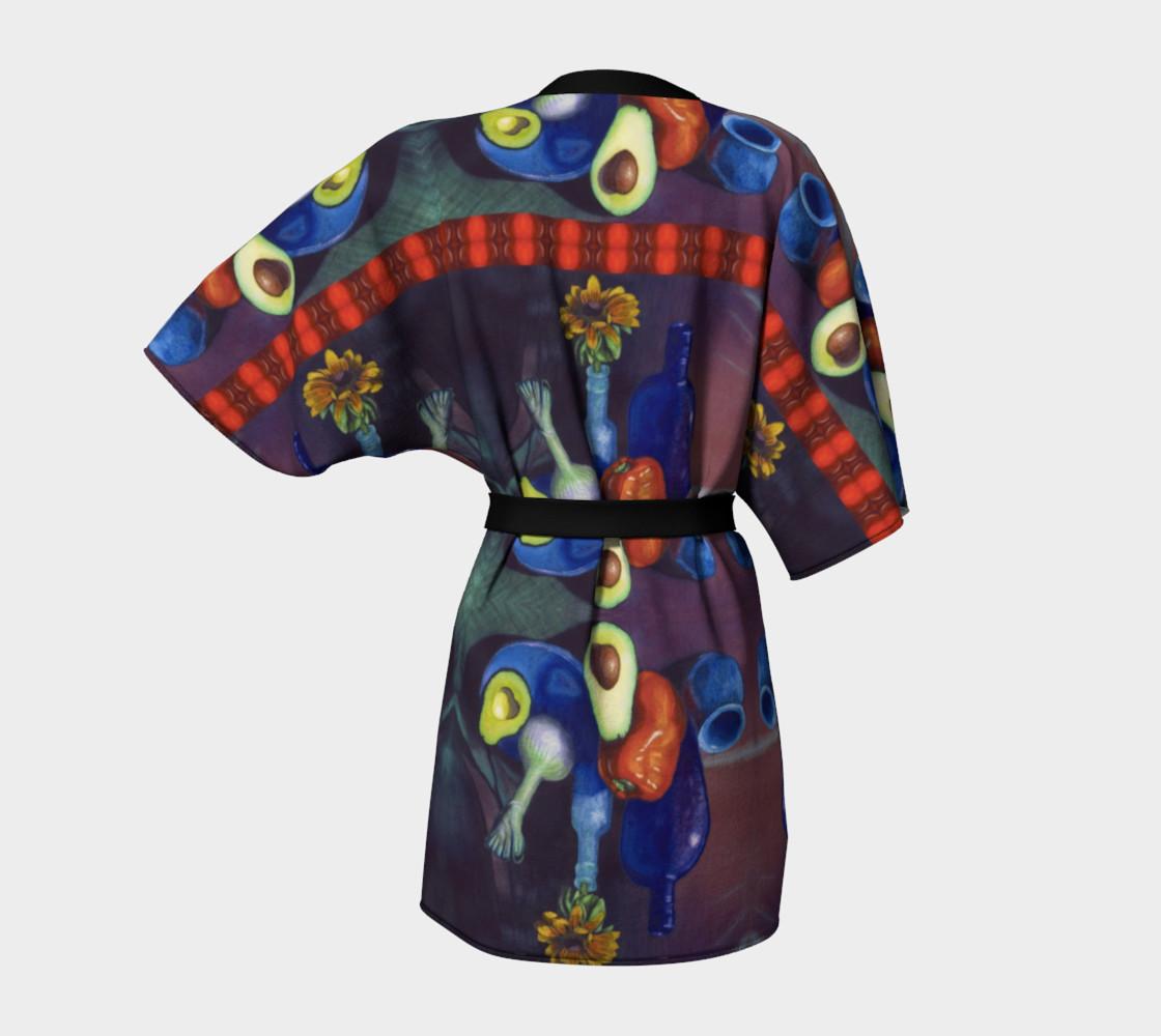 Avocado & Red Pepper Kimono Robe preview #4