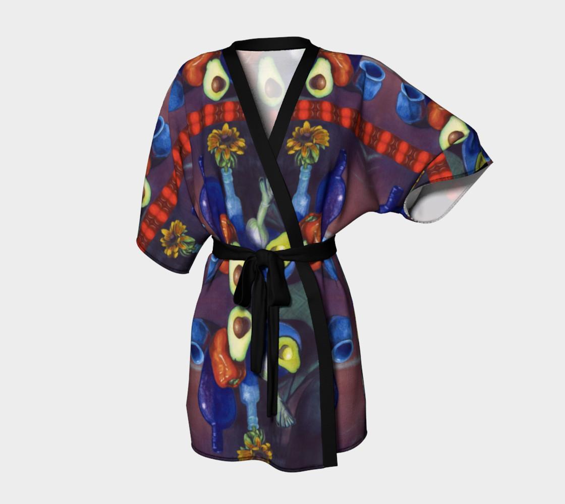 Avocado & Red Pepper Kimono Robe preview #1