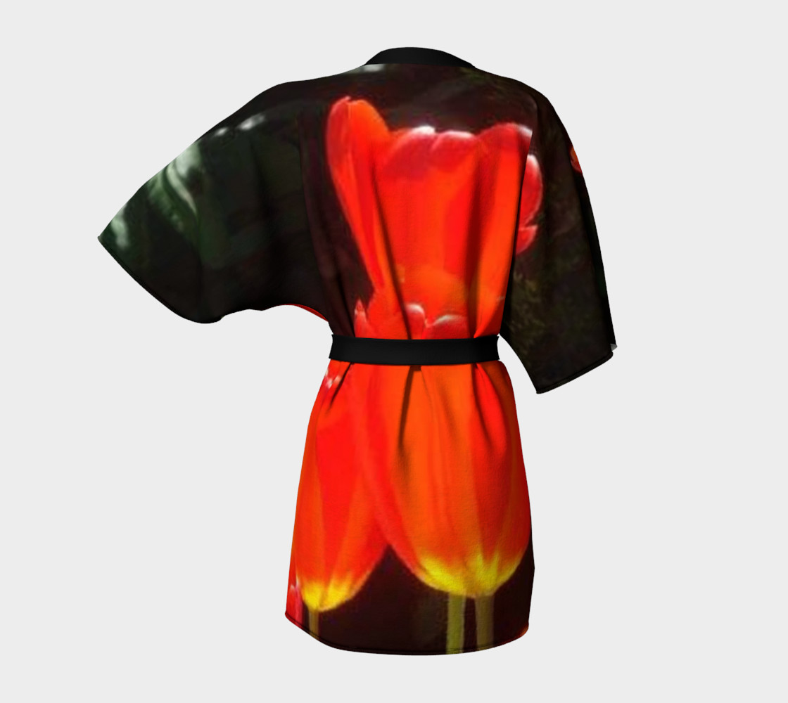 Black background and Red tulips on Kimono Robe, for anyone. preview #4