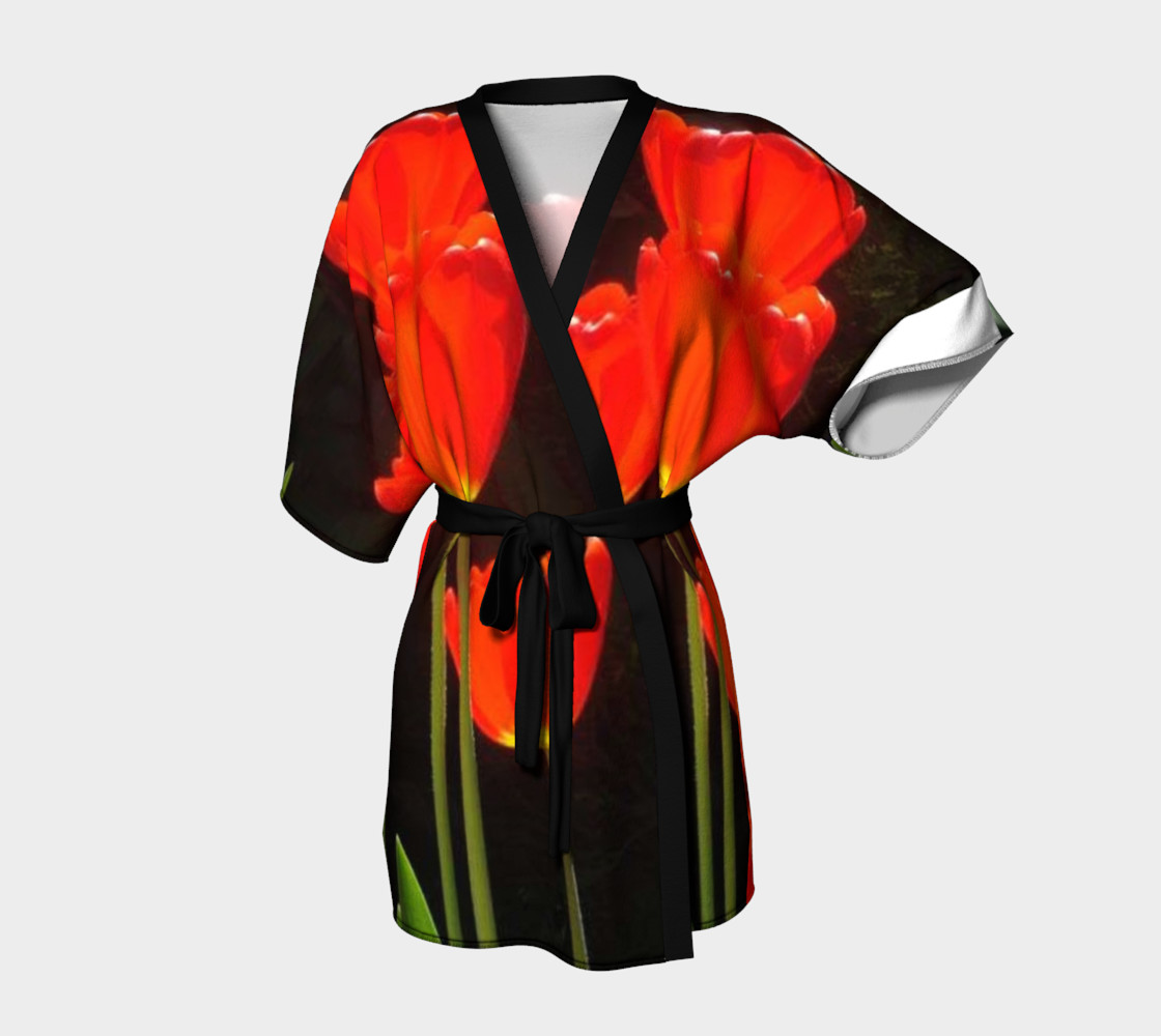 Black background and Red tulips on Kimono Robe, for anyone. preview #1