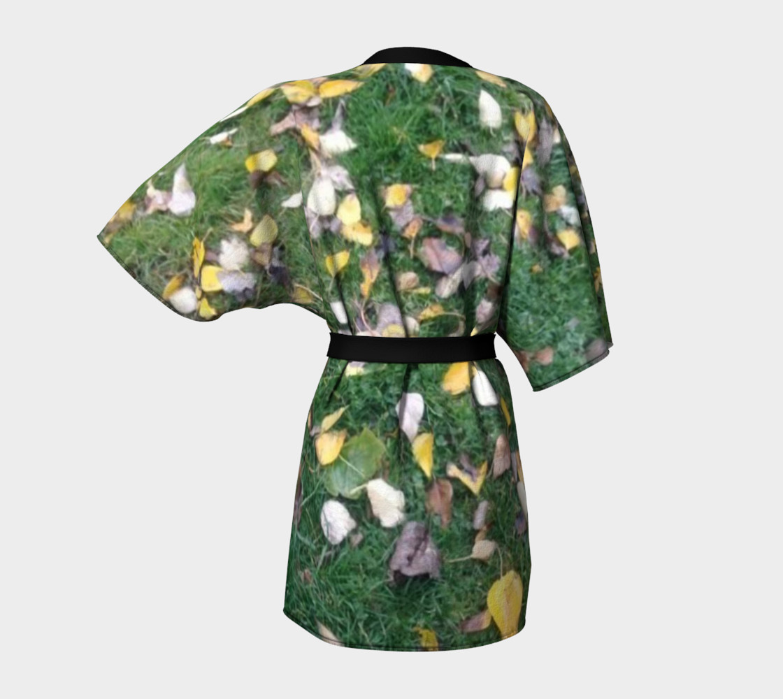 Falling leaves on green grasses, Kimono Robe for anyone. preview #4