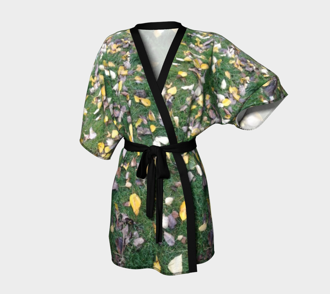Falling leaves on green grasses, Kimono Robe for anyone. preview #1