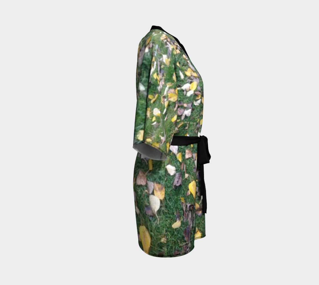Falling leaves on green grasses, Kimono Robe for anyone. preview #3