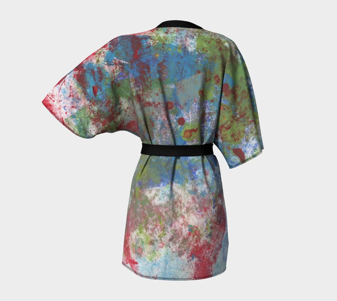 Multi Blue and Green Robe Kimono preview #4