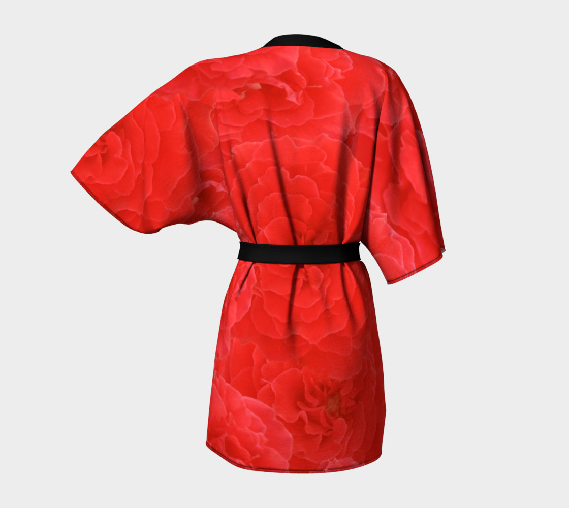 Romantic Red Rose Floral Kimono preview #4