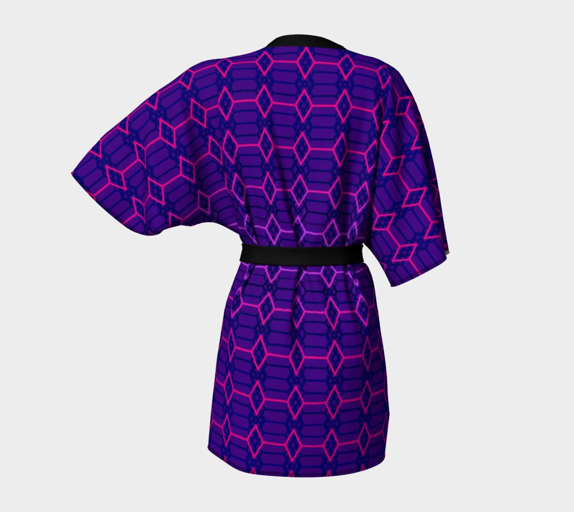 Blue Violet Indigo and Purple Diamond Geometric Pattern Kimono preview #4