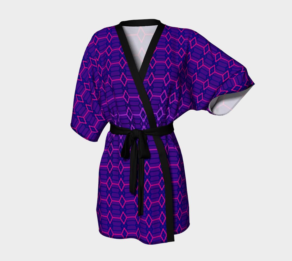 Blue Violet Indigo and Purple Diamond Geometric Pattern Kimono preview #1