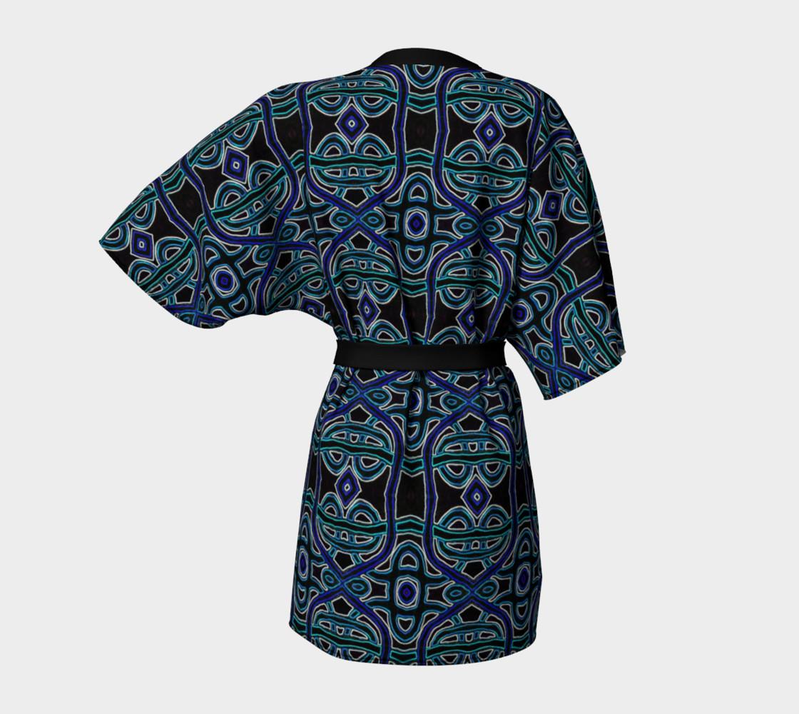 Lapis Lazuli Damask Kimono Robe preview #4