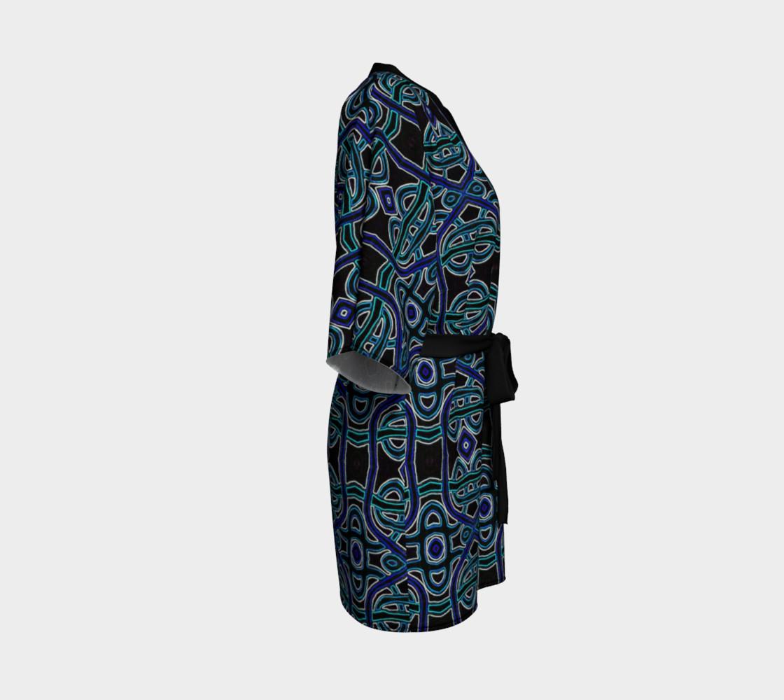 Lapis Lazuli Damask Kimono Robe preview #3