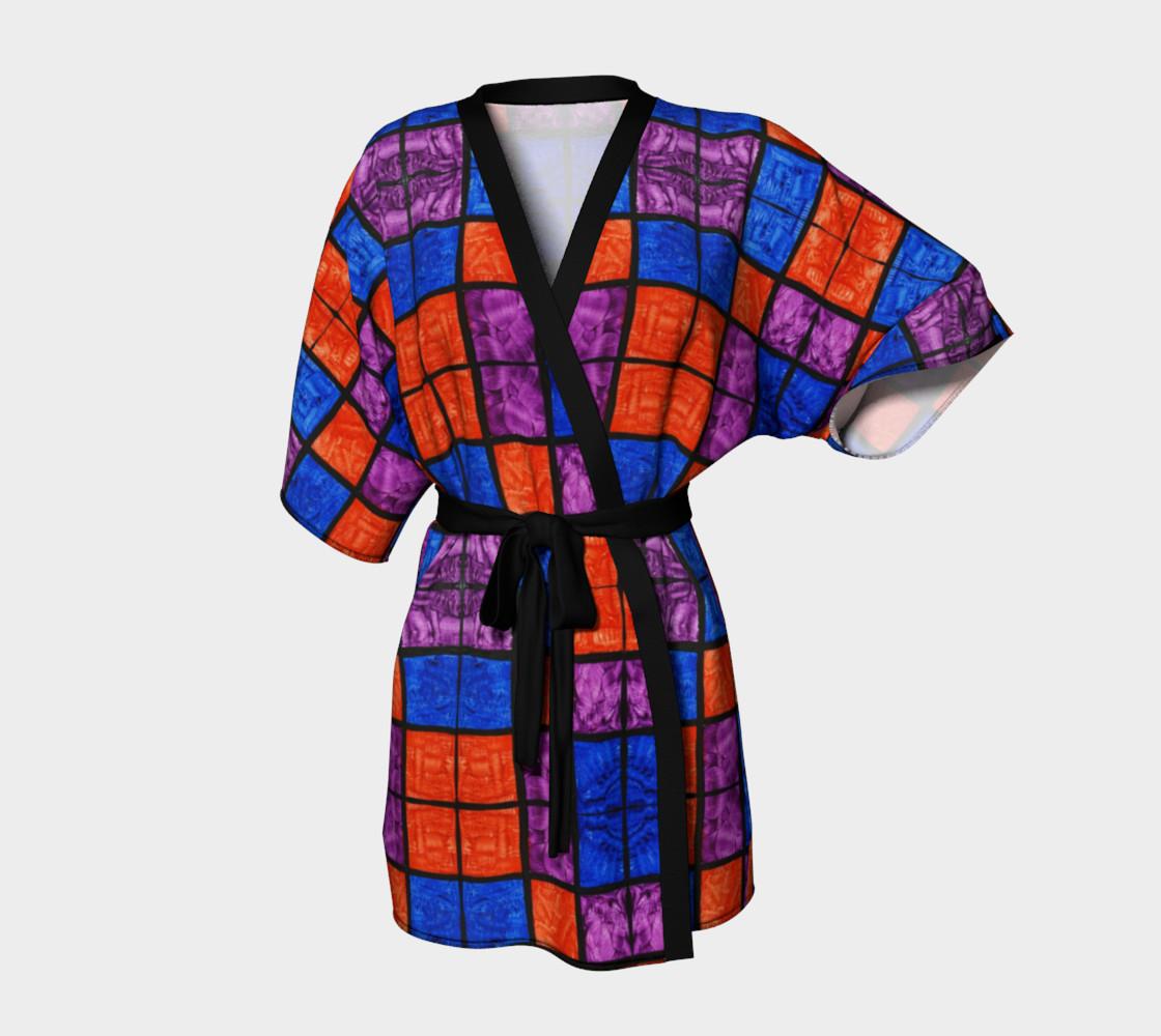 Checkerboard Mosaic Kimono Robe preview #1